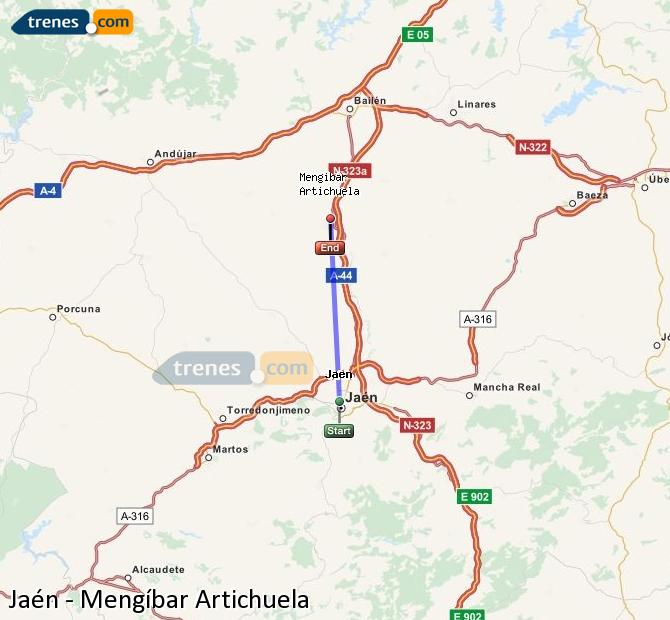 Ampliar mapa Comboios Jaén Mengíbar Artichuela