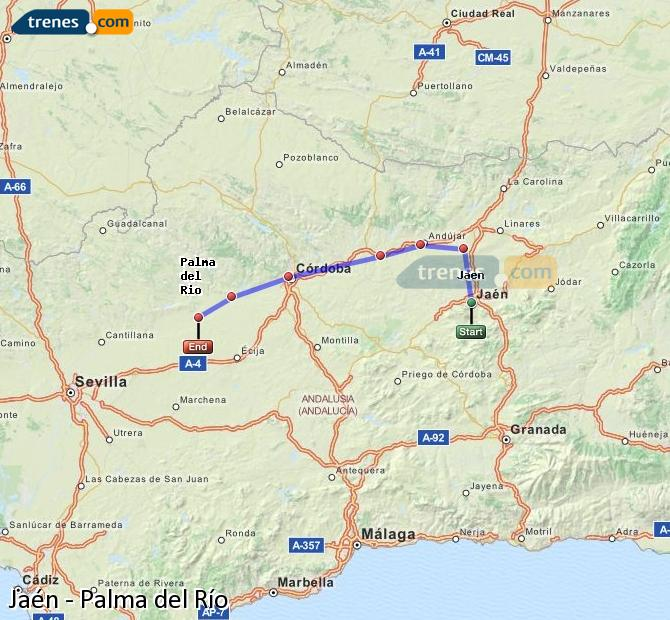 Enlarge map Trains Jaén to Palma del Río