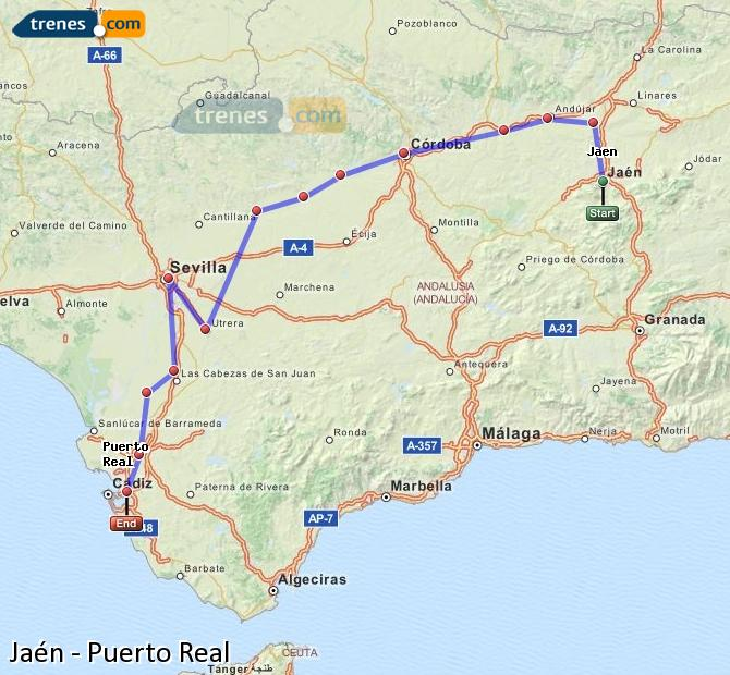 Enlarge map Trains Jaén to Puerto Real