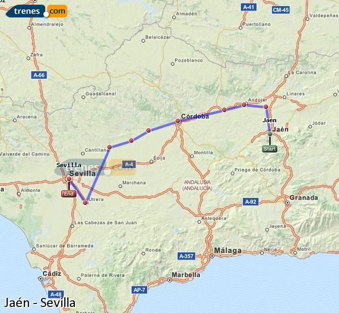 Karte vergrößern Züge Jaén Sevilla