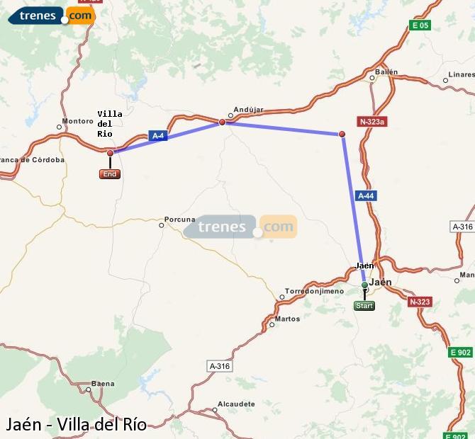 Enlarge map Trains Jaén to Villa del Rio