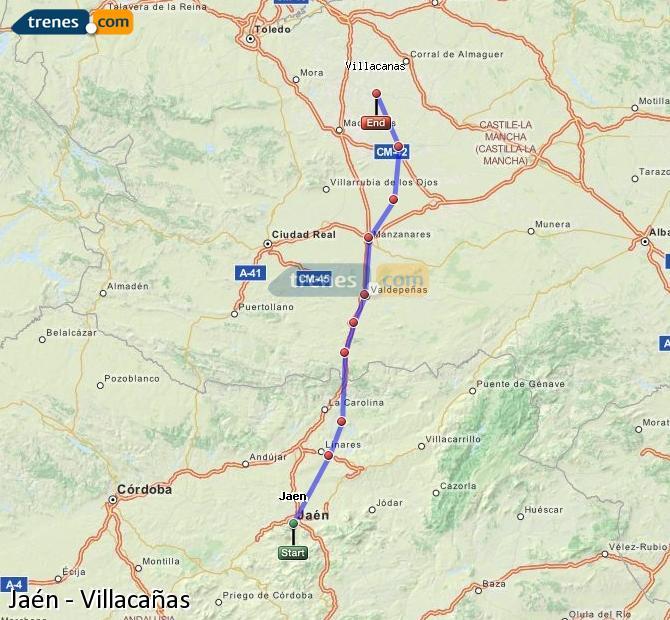 Agrandir la carte Trains Jaén Villacañas