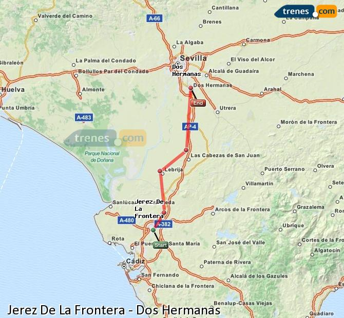 Enlarge map Trains Jerez De La Frontera to Dos Hermanas