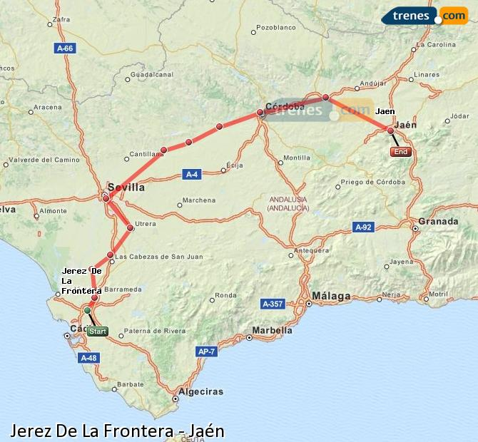 Enlarge map Trains Jerez De La Frontera to Jaén