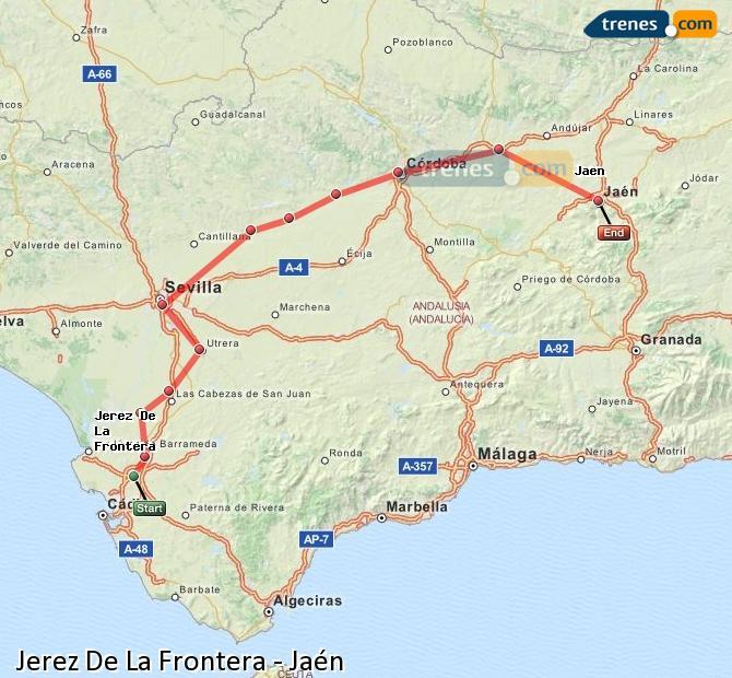Karte vergrößern Züge Jerez De La Frontera Jaén
