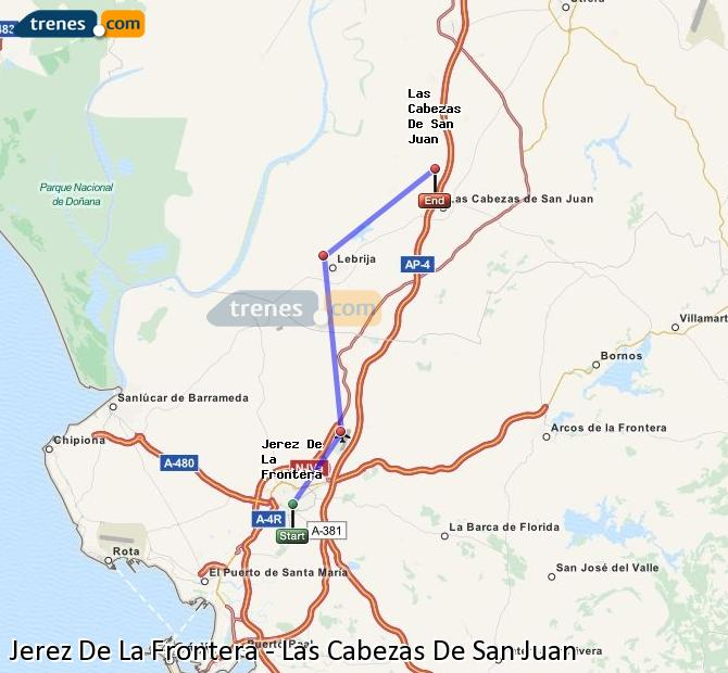 Enlarge map Trains Jerez De La Frontera to Las Cabezas De San Juan