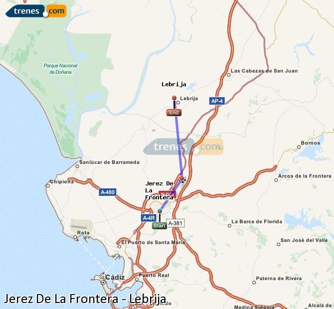 Agrandir la carte Trains Jerez De La Frontera Lebrija