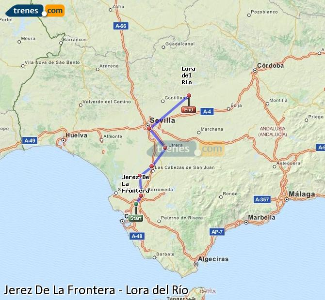 Karte vergrößern Züge Jerez De La Frontera Lora del Río