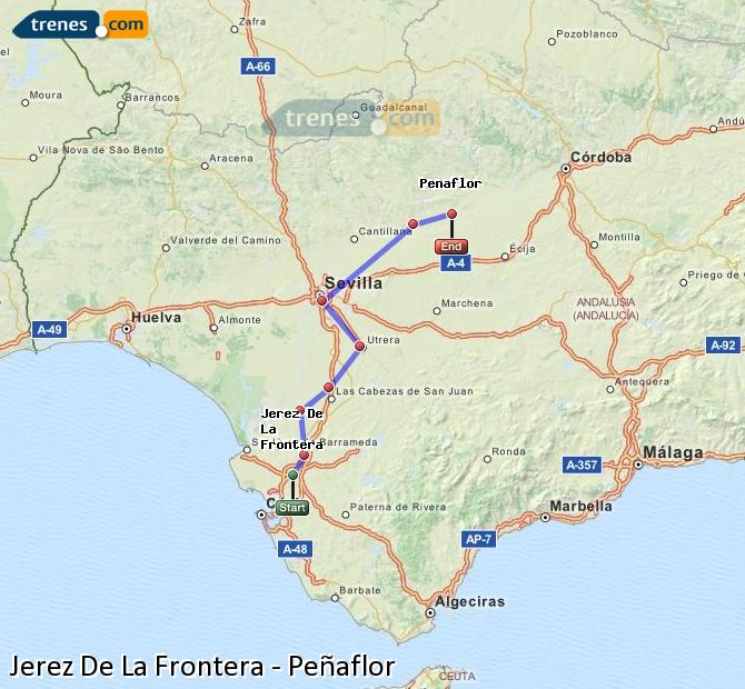 Karte vergrößern Züge Jerez De La Frontera Peñaflor