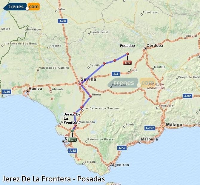 Ampliar mapa Comboios Jerez De La Frontera Posadas