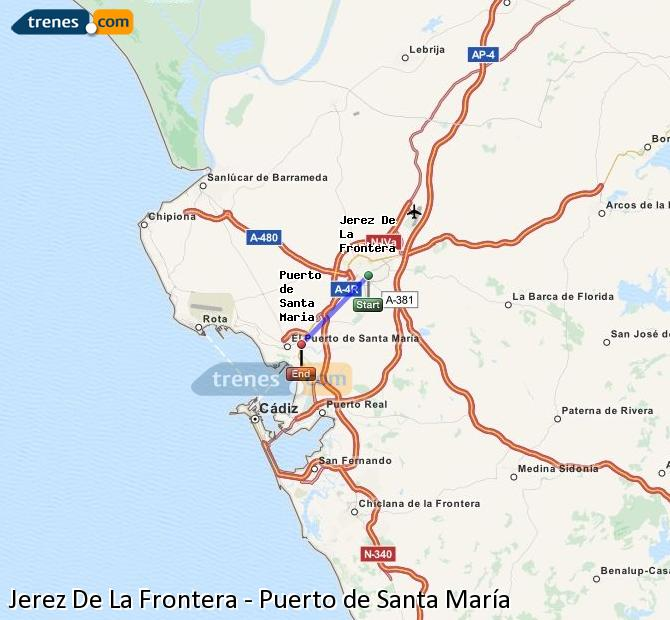 Enlarge map Trains Jerez De La Frontera to Port of Santa Maria