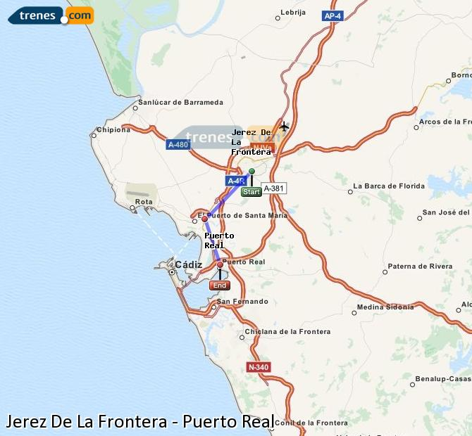 Enlarge map Trains Jerez De La Frontera to Puerto Real