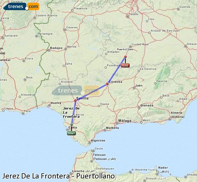Enlarge map Trains Jerez De La Frontera to Puertollano