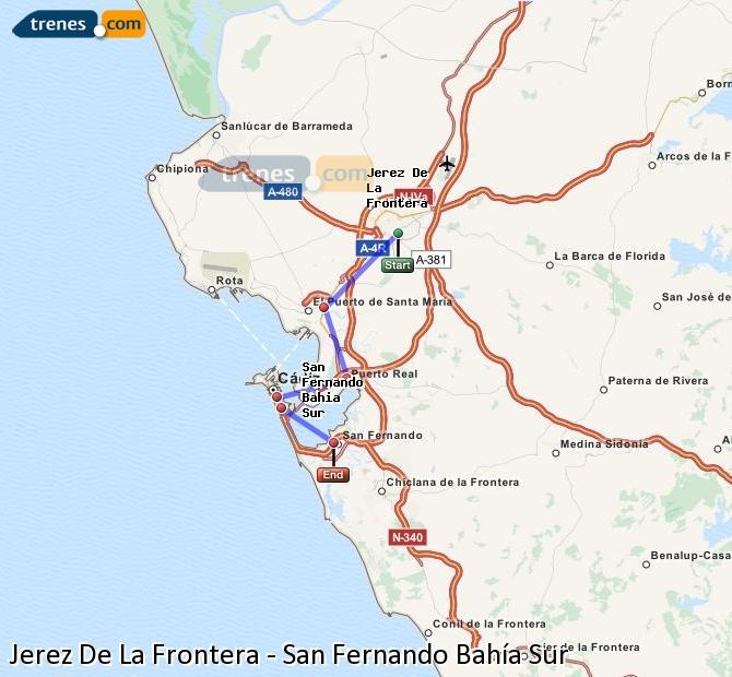 Ampliar mapa Comboios Jerez De La Frontera San Fernando Bahía Sur