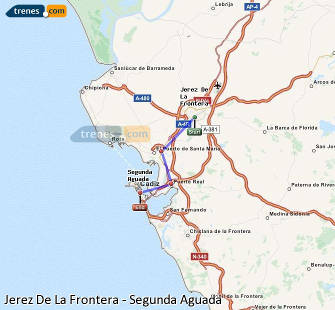 Enlarge map Trains Jerez De La Frontera to Segunda Aguada