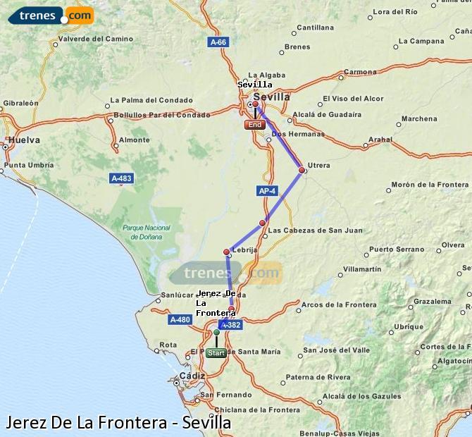 Enlarge map Trains Jerez De La Frontera to Seville
