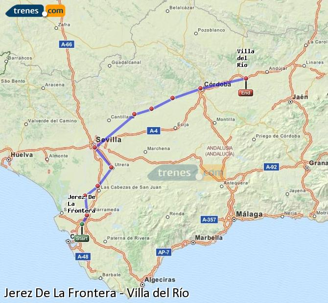 Enlarge map Trains Jerez De La Frontera to Villa del Rio
