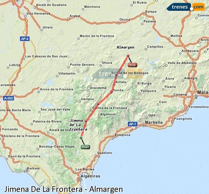 Agrandir la carte Trains Jimena De La Frontera Almargen