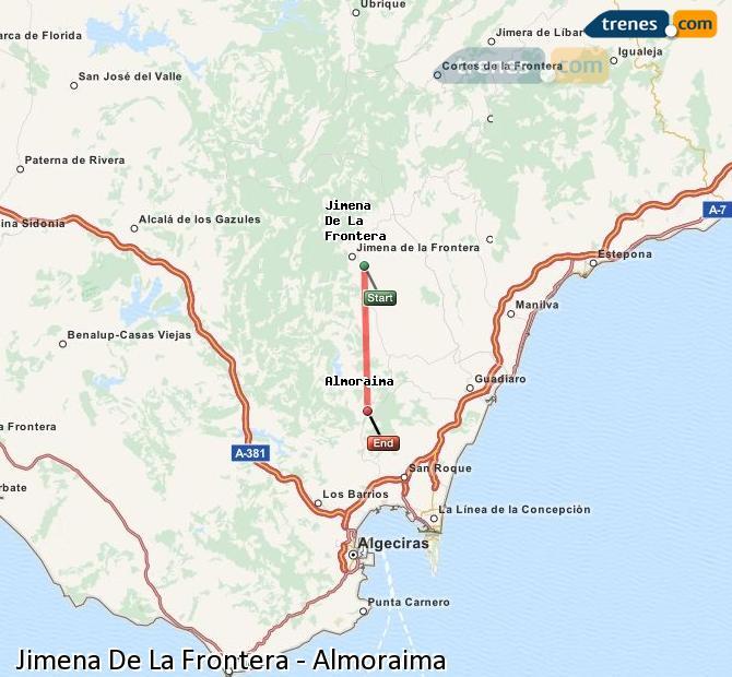 Ingrandisci la mappa Treni Jimena De La Frontera Almoraima
