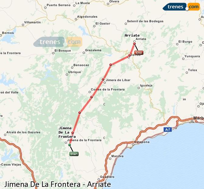 Ampliar mapa Trenes Jimena De La Frontera Arriate