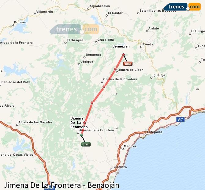 Agrandir la carte Trains Jimena De La Frontera Benaoján