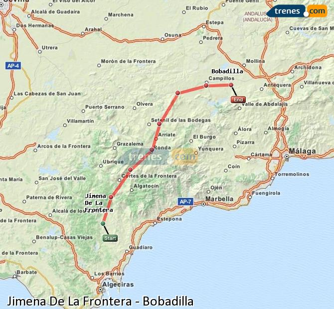Enlarge map Trains Jimena De La Frontera to Bobadilla