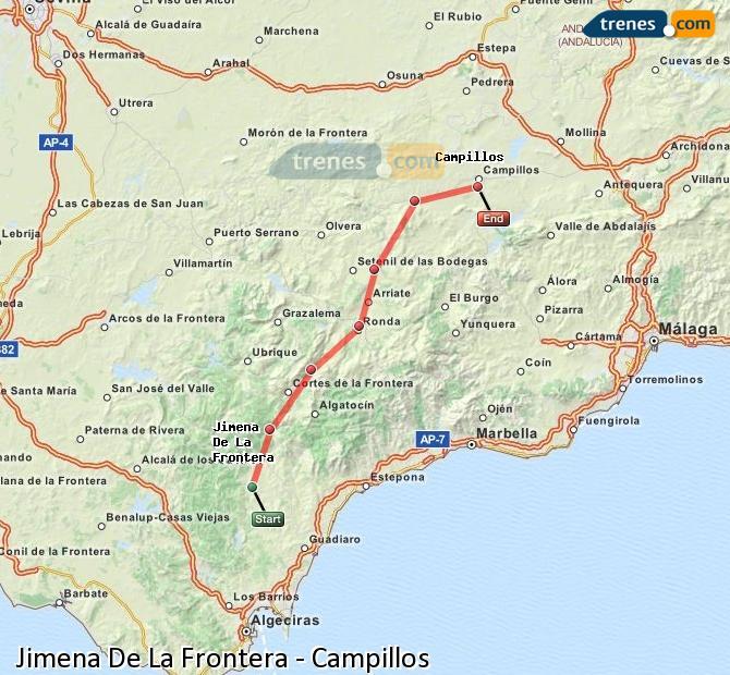 Agrandir la carte Trains Jimena De La Frontera Campillos