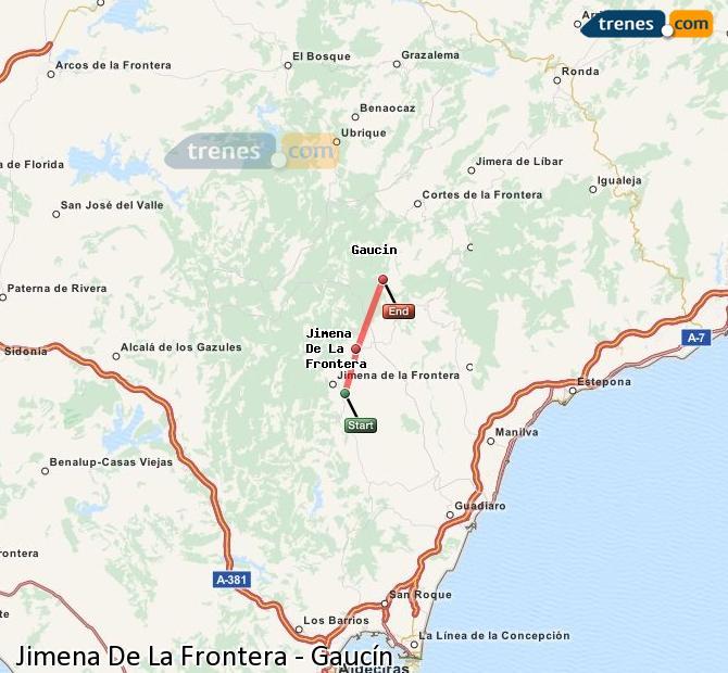 Ingrandisci la mappa Treni Jimena De La Frontera Gaucín