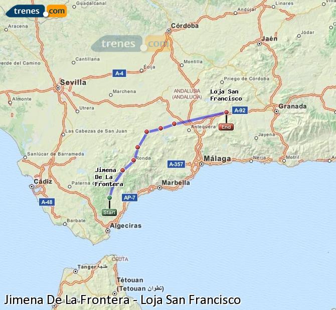 Ampliar mapa Trenes Jimena De La Frontera Loja San Francisco
