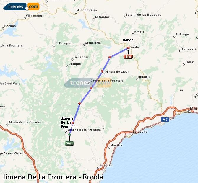 Enlarge map Trains Jimena De La Frontera to Ronda