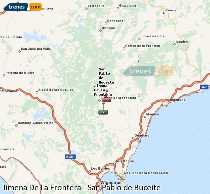 Agrandir la carte Trains Jimena De La Frontera San Pablo de Buceite