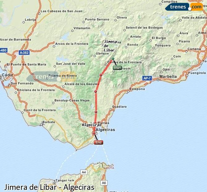 Karte vergrößern Züge Jimera de Líbar Algeciras