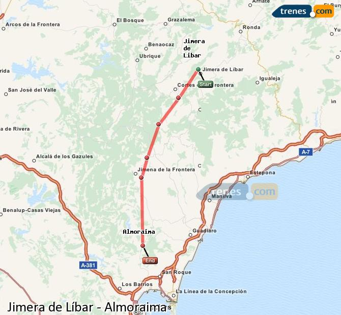 Ingrandisci la mappa Treni Jimera de Líbar Almoraima