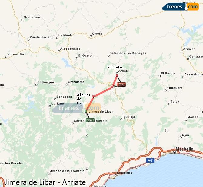 Ampliar mapa Trenes Jimera de Líbar Arriate