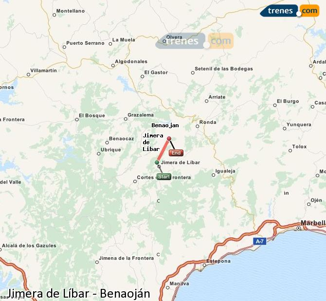 Agrandir la carte Trains Jimera de Líbar Benaoján