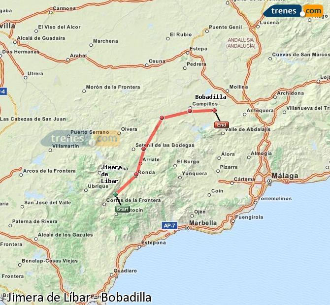 Ingrandisci la mappa Treni Jimera de Líbar Bobadilla