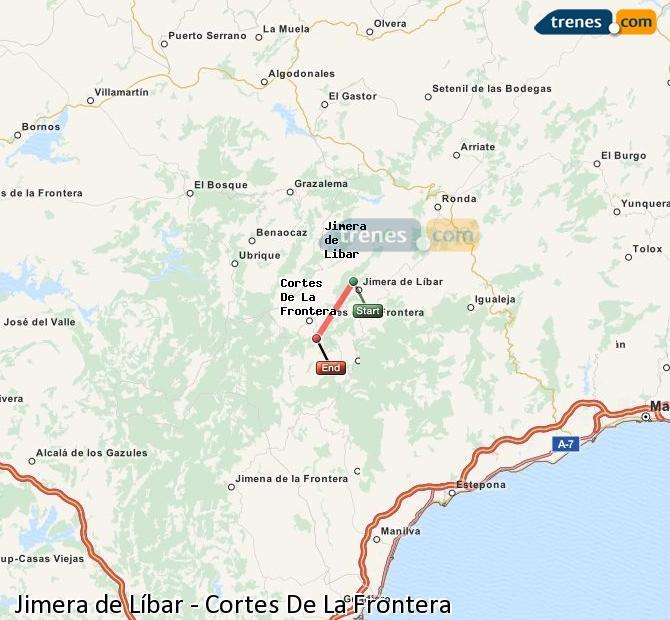 Ingrandisci la mappa Treni Jimera de Líbar Cortes De La Frontera