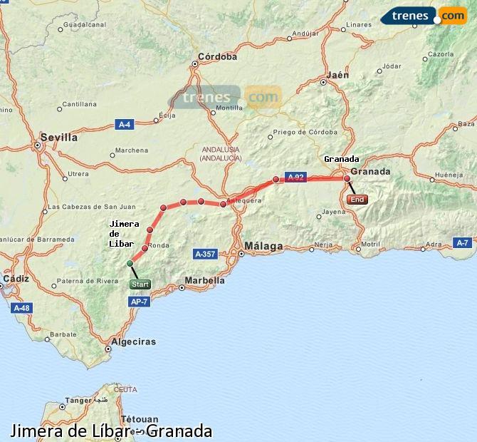 Agrandir la carte Trains Jimera de Líbar Granada