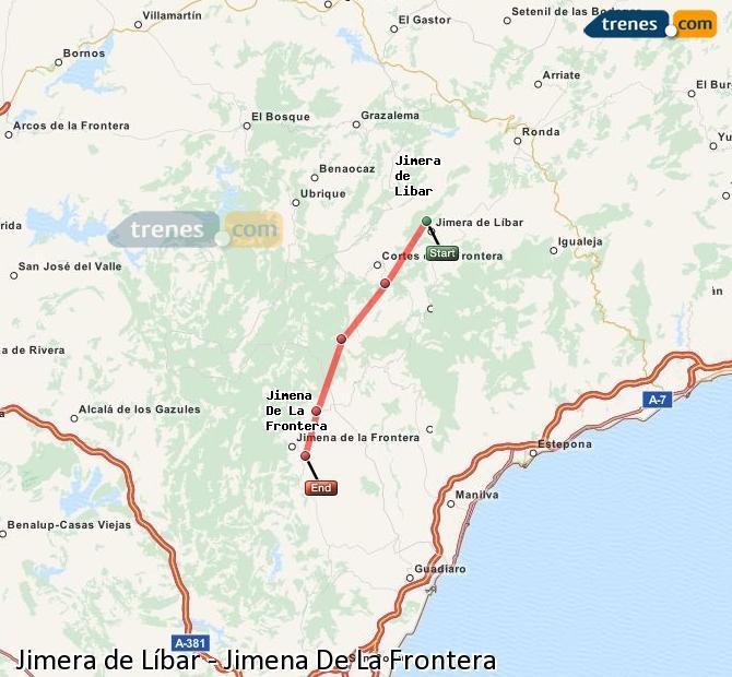 Ingrandisci la mappa Treni Jimera de Líbar Jimena De La Frontera