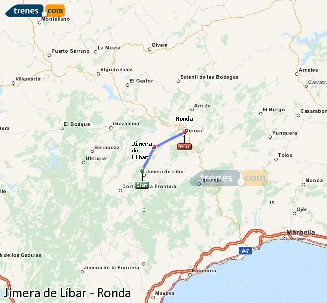 Enlarge map Trains Jimera de Líbar to Ronda