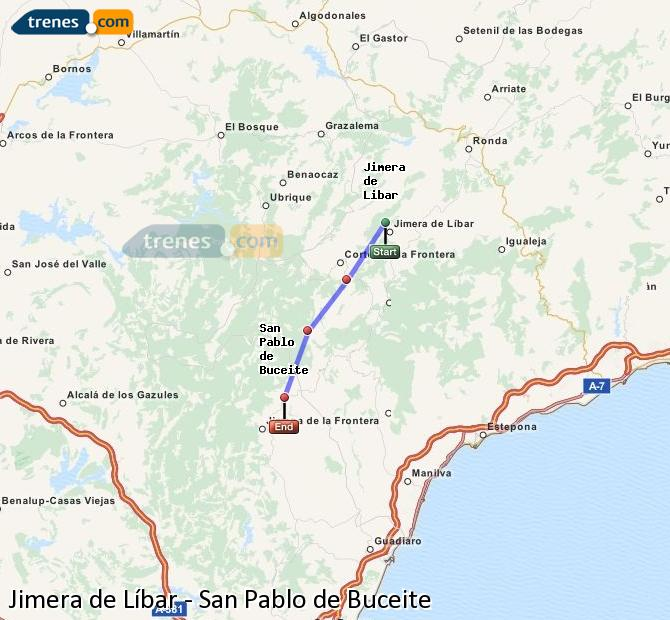Ingrandisci la mappa Treni Jimera de Líbar San Pablo de Buceite
