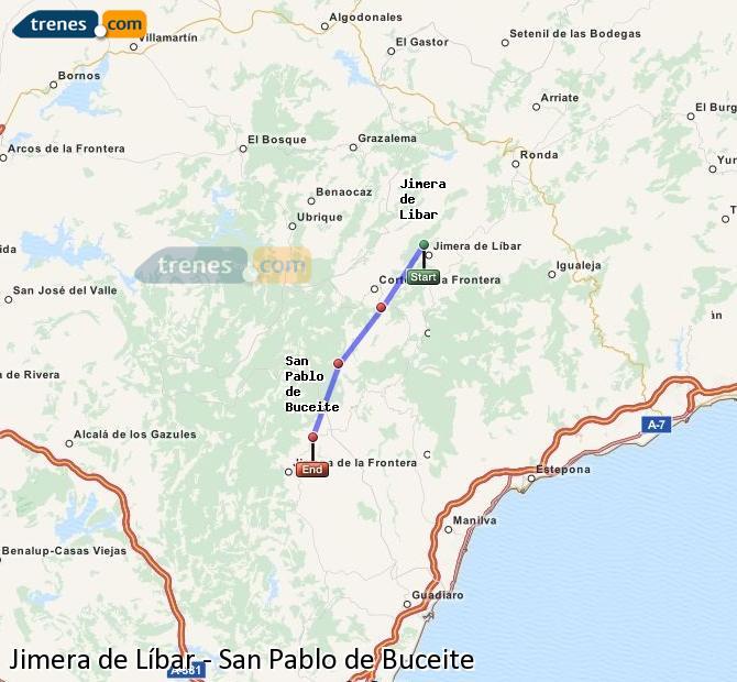 Agrandir la carte Trains Jimera de Líbar San Pablo de Buceite