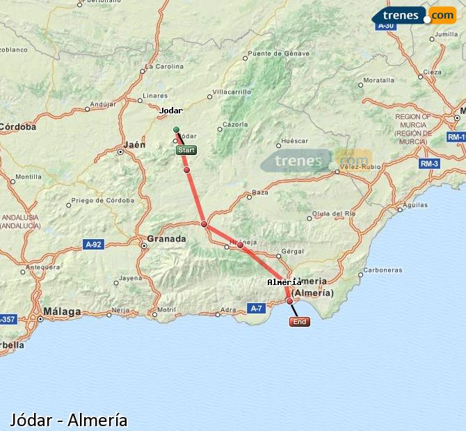 Enlarge map Trains Jódar to Almeria