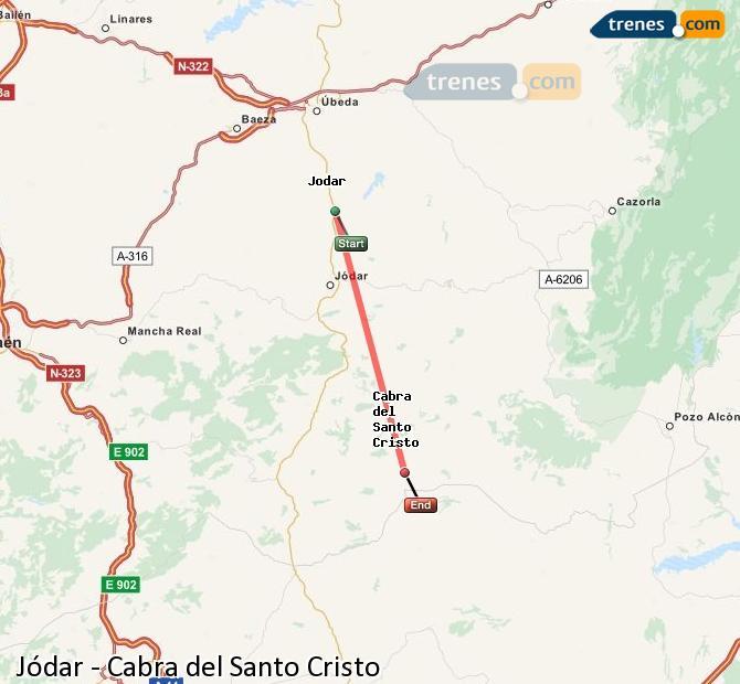 Enlarge map Trains Jódar to Cabra del Santo Cristo