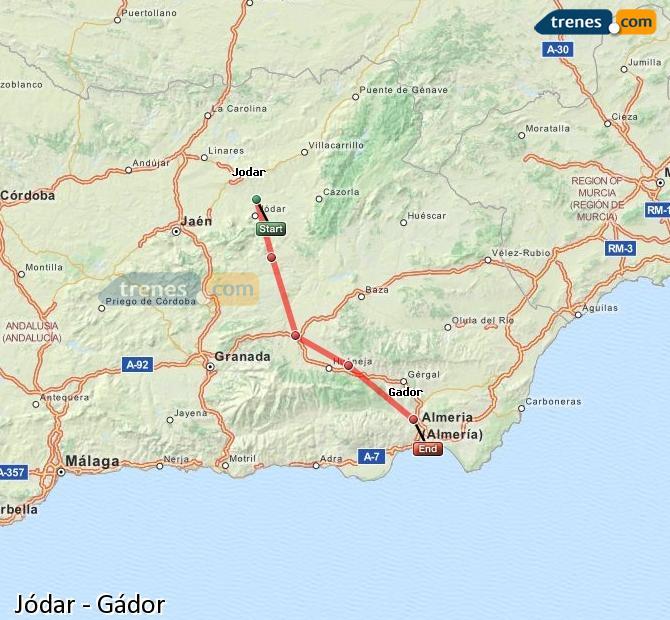 Karte vergrößern Züge Jódar Gádor