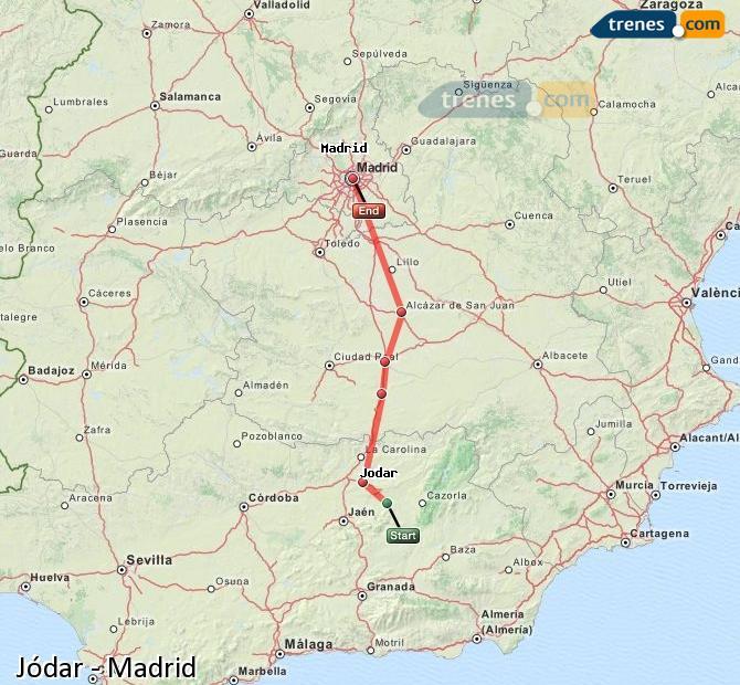 Agrandir la carte Trains Jódar Madrid
