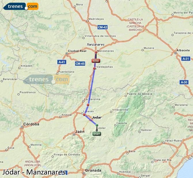 Agrandir la carte Trains Jódar Manzanares