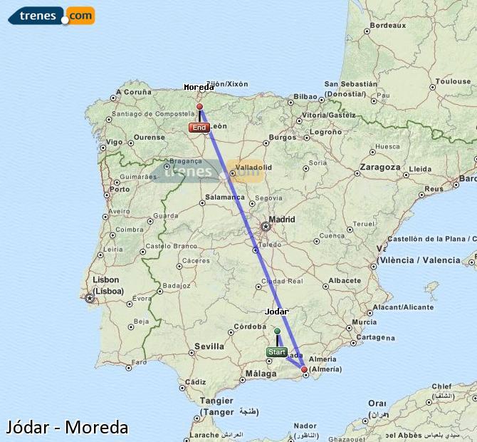 Agrandir la carte Trains Jódar Moreda