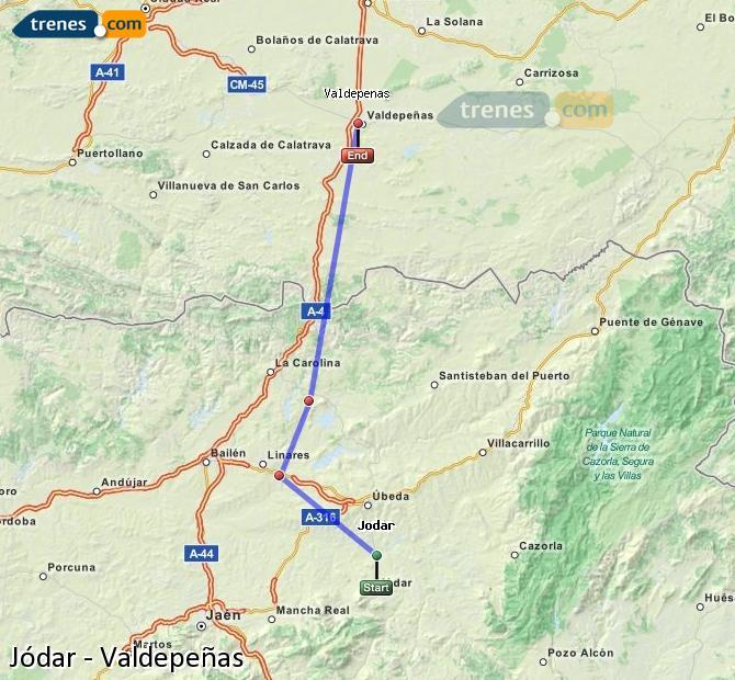 Agrandir la carte Trains Jódar Valdepeñas