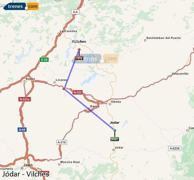 Agrandir la carte Trains Jódar Vilches